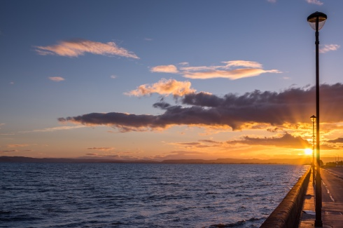 Sunset over the Firth of Tay, Scotland.