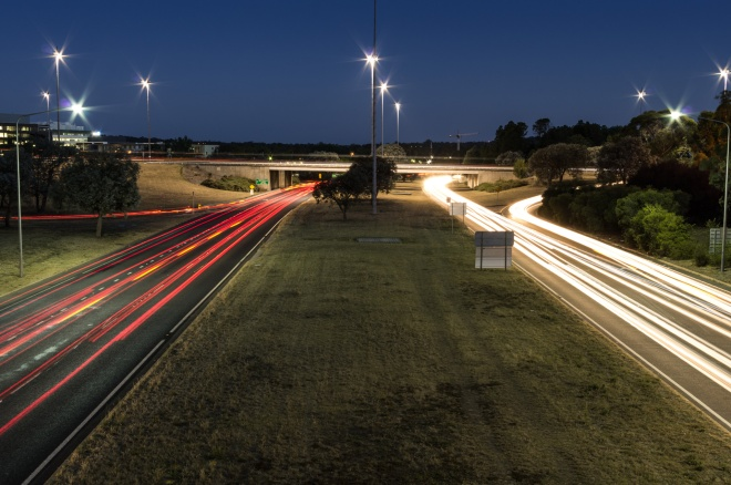Light trails on Parkes Way, Canberra, Australia.