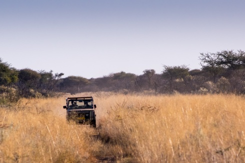 A Landrover on Safari in Namibia