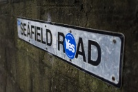 A road sign bears the logo of the pro-independence campaign ahead of the Scottish referendum.