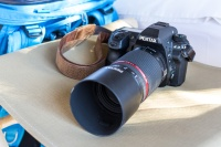 The Pentax K3 APS-C DSLR with Pentax tele-zoom attached.