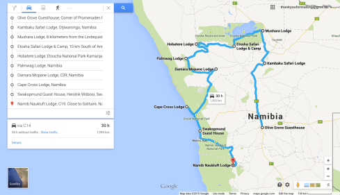 Our travel route through Namibia.