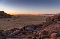 Sunset over the plains of the Namib region, Namibia.